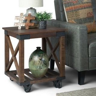 Carbon Loft Culverhouse Solid Mango Wood and Metal Industrial End Table