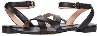 J.Crew Leather Cross Strap Lucy Sandal (Black) Women's Sandals