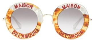 Gucci Maison De Lamour Round Acetate Sunglasses - Tortoiseshell