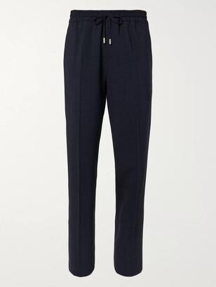 Mr P. Gingham Wool-Blend Seersucker Drawstring Trousers - Men - Blue