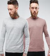 Asos 2 Pack Cotton Jumper In Grey/Pink Slub Save