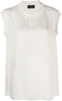 Joseph Bo Washed contrast-stitching blouse