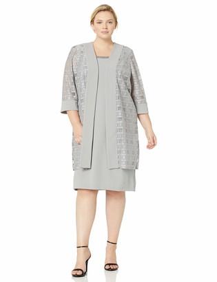 Maya Brooke Women's Plus Size Embellished Neckline and Geometric Duster Jacket Dress