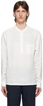 Ermenegildo Zegna White Collarless Half-Buttoned Shirt