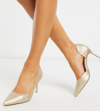 Miss KG Wide Fit celia pointed heeled shoes in gold