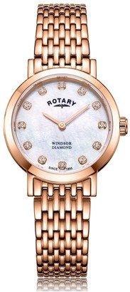 Rotary Watches Rose Gold Windsor Diamonds Ladies