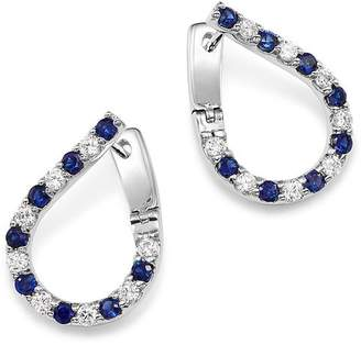Bloomingdale's Blue Sapphire & Diamond Front-Back Hoop Earrings in 14K White Gold - 100% Exclusive