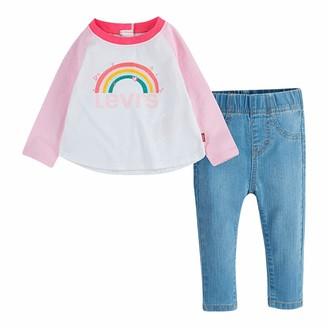 Levi's Kids Lvg Colorblock Raglan Denim Se Baby and Toddler Layette Set Baby Girls White 12 Months