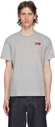 Comme des Garcons Grey and Red Double Hearts T-Shirt