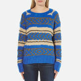 Maison Scotch Women's Special Lurex Jacquard Crew Neck Jumper Blue