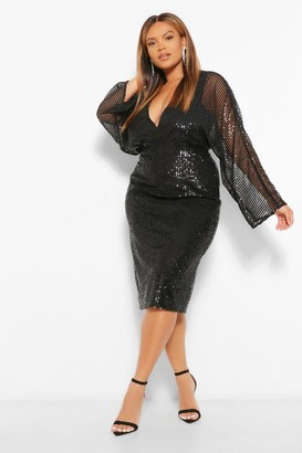 boohoo Plus Sequin Batwing Sleeve Midi Dress