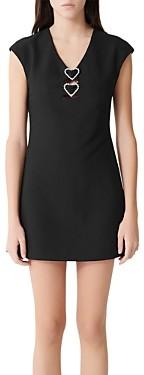 Maje Ricoeur Rhinestone-Heart Mini Dress