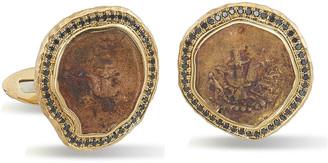 Black Diamond Jorge Adeler Men's 18k Gold Ancient Coin Cufflinks w Trim