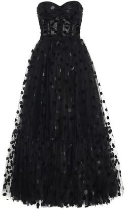 Dolce & Gabbana Flocked polka-dot tulle gown