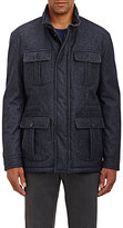Isaia MEN'S HOODED FLANNEL FIELD COAT