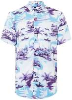Topman Purple Print Viscose Short Sleeve Casual Shirt