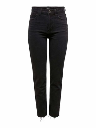 Only Women's Onlemily Hw St Raw Ankle Mae004 Noos Straight Jeans