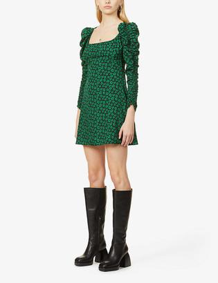 Topshop Floral-print ruche-sleeve woven mini dress