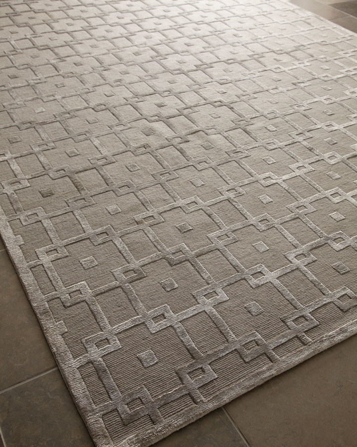 """Horchow """"Silver Blocks"""" Rug"""