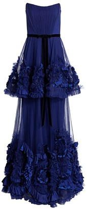 Marchesa Mix Media Tulle Crepe Ruffle Strapless A-Line Gown