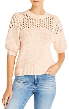 Joie Una Open-Knit Puff-Sleeve Sweater