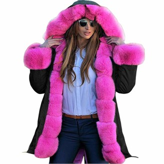 Lazzboy Womens Coat Parka Warm Faux Fur Edge Hooded Cotton-Padded Baggy Outerwear Overcoat(Black-Pink Fur L(10))