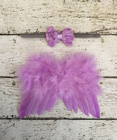 Lavender Feather Angel Wings & Bow Headband