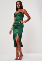 Missguided Green Satin Lace Insert Midi Dress