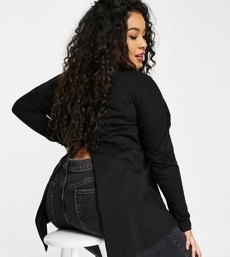 ASOS DESIGN Curve long sleeve t-shirt with slit back in black