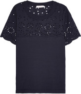 See by Chloe Broderie anglaise-paneled cotton-jersey T-shirt