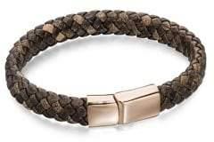 Fred Bennett Wide Plaited Brown Leather Bracelet
