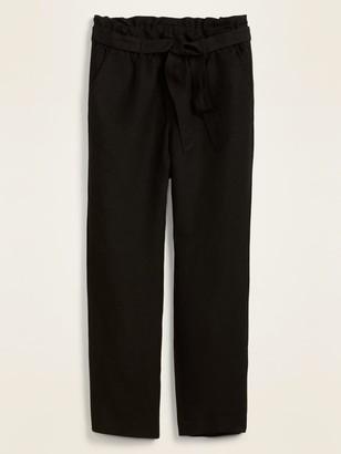 Old Navy High-Waisted Tie-Belt Linen-Blend Straight-Leg Pants for Women