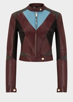 Versace Geometric Cropped Leather Biker