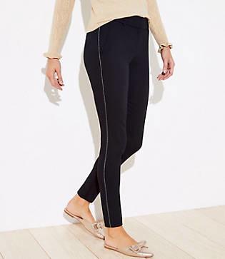 LOFT Petite Shimmer Stripe Skinny Ankle Pants