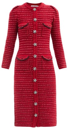 Self-Portrait Crystal-button Cotton-blend Knitted Dress - Red