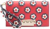 Zac Posen flower embellished clutch - women - Calf Leather - One Size