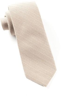 Tie Bar Wool Herringbone Carmel Tie