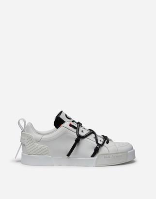 Dolce & Gabbana Portofino Sneakers In Calfskin And Patent Leather