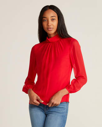 Ted Baker Rucked High Neck Long Sleeve Silk Blouse