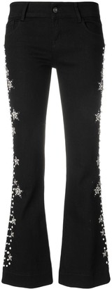 Wandering Faux Pearl And Gemstone Embellished Cropped Trousers