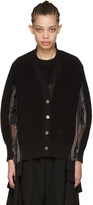 Sacai Black Organza Striped Cardigan