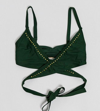 Wolfwhistle Wolf & Whistle Fuller Bust Exclusive Eco wrap around stud bikini top in green