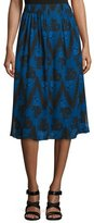 Creatures of the Wind Floral Zigzag Pleated Skirt, Blue