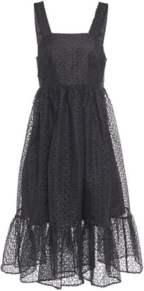 Shrimps Ruffled Broderie Anglaise Organza Midi Dress