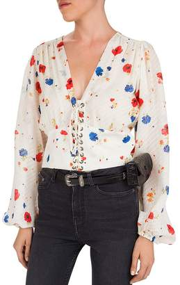 The Kooples Daydream Flowers Lace-Up Floral Silk Top