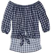 Aqua Girls' Plaid Off-the-Shoulder Blouse - Big Kid