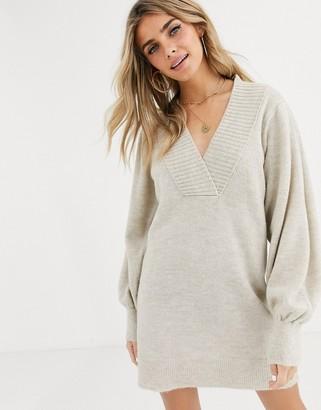 Asos Design DESIGN deep v neck jumper dress with volume sleeve-Stone