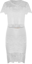 Round Neck Short Sleeves Transparent White Lace Dress