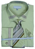 Sunrise Outlet Mens Patch Strip Cotton Shirt Tie Cufflink Set - 17.5 36-37