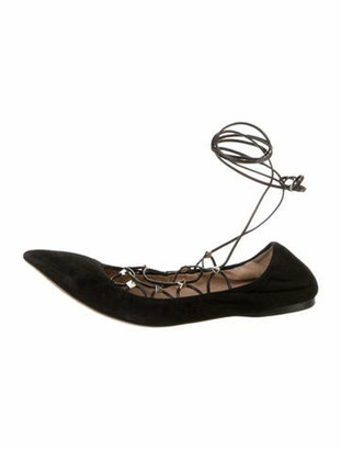 Valentino Suede Lace-Up Flats Black